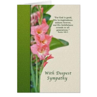 Sympathie, glaïeul rose, religieux cartes