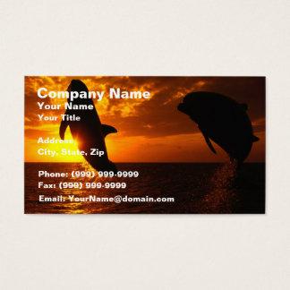 Symphonie de dauphins au coucher du soleil cartes de visite