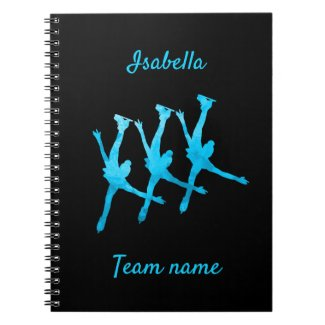 Synchronized skating notebook line turquoise blue