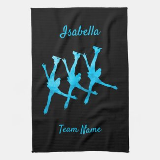 Synchronized skating towel arabesque turquoise