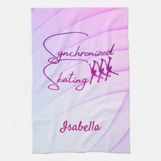 Synchronized skating towel calligraphy purple pink