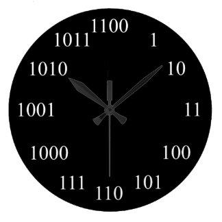 Système de numération binaire Geeky Grande Horloge Ronde
