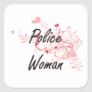 Système de travail artistique de femme de police sticker carré