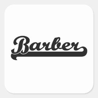 Système de travail classique de coiffeur sticker carré