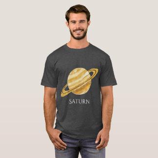 T des hommes d'aquarelle de planète de Saturn T-shirt