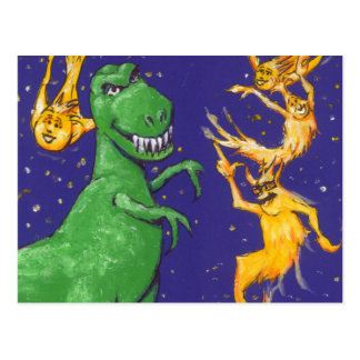 T-Rex et comètes Carte Postale