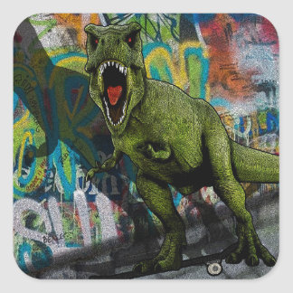 T-Rex urbain Sticker Carré