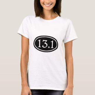 T-shirt 13,1 demi d'ovale de noir de marathon