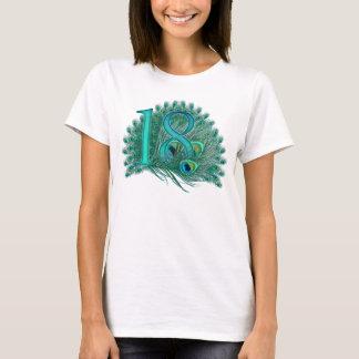 T-shirt 18èmes nombres de paon d'anniversaire ou