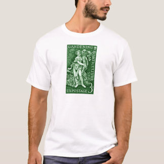 T-shirt 1958 faisant du jardinage + Timbre d'horticulture