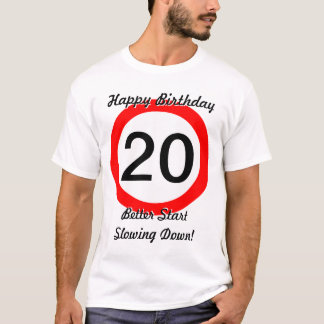 T-shirt 20ème Limitation de vitesse de panneau routier de