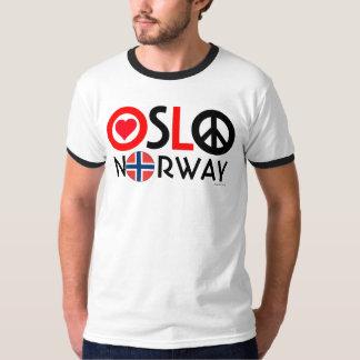 T-shirt 2 de paix d'amour d'Oslo Norvège