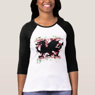 """T-shirt 3/4"""" de Ladie de dragon de Gallois chemise raglane"""