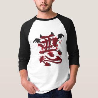 "T-shirt 3/4"" des hommes mauvais de kanji chemise raglane"