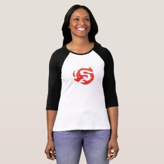 T-shirt 3/4 pièce en t de logo de la douille des femmes