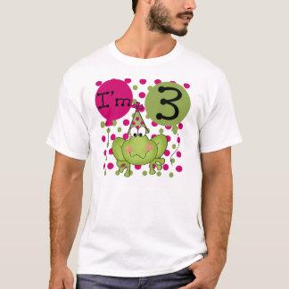 T-shirt 3ème anniversaire de grenouille (rose)