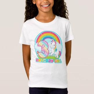 T-Shirt 3ème Licorne d'arc-en-ciel d'anniversaire - fille