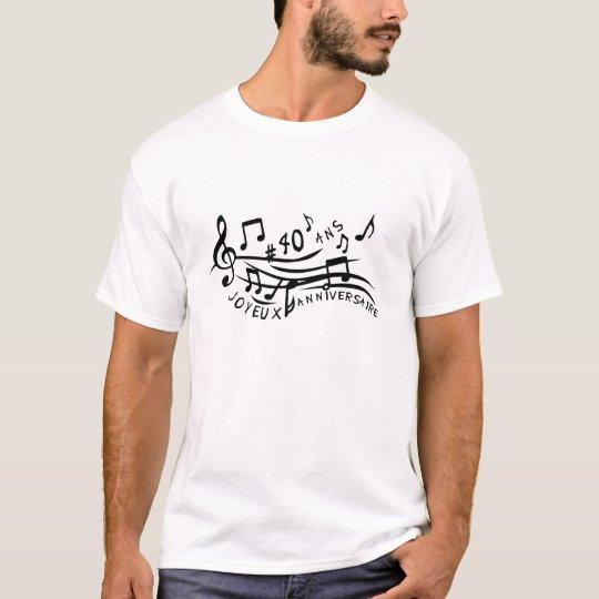 T-shirt 40 ans note musique partition anniversaire