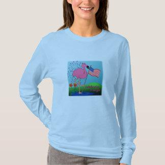 T-shirt 4 juillet chemise drôle de dames de flamant