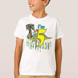 T-shirt 5ème dinosaure d'anniversaire de garçon
