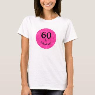 T-shirt 60 et pois rose lumineux d'anniversaire fabuleux