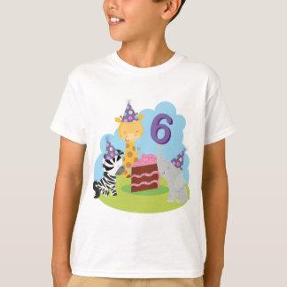 T-shirt 6ème Safari d'animal de jungle d'anniversaire
