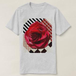 T-shirt 6x plus la chemise de collage de rose rouge de