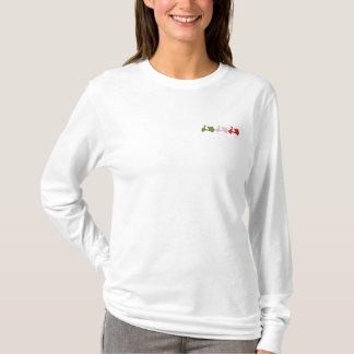 T-shirt À Manches Lomgues Brodée Dames blanches et par rouge brodées vertes de