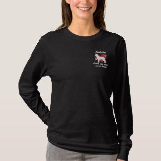T-shirt À Manches Lomgues Brodée Empreintes de pattes de congé de Swissies