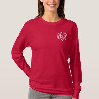 T-shirt À Manches Lomgues Brodée Et blanc monogramme brodé par manuscrit rouge