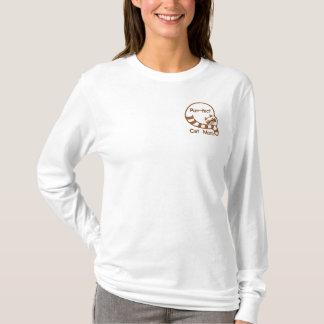 T-shirt À Manches Lomgues Brodée Maman de chat de Ronronnement-fect
