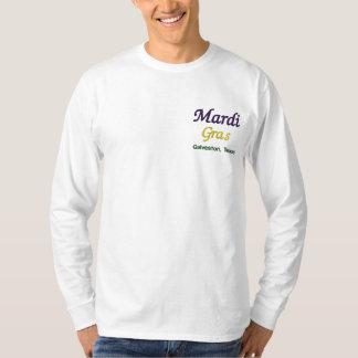 T-shirt À Manches Lomgues Brodée Mardi gras Galveston le Texas