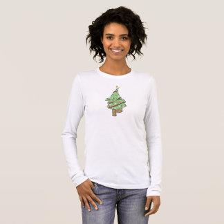 T-shirt À Manches Longues Arbre de Noël - pose d'arbre de yoga