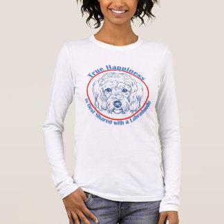 T-shirt À Manches Longues Bonheur vrai avec un Labradoodle