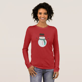 T-shirt À Manches Longues Bonhomme de neige de Noël