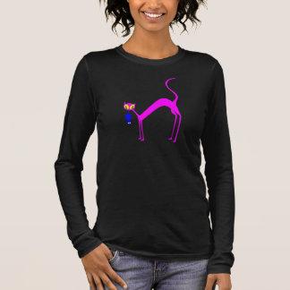T-shirt À Manches Longues Chat rose et souris bleue - Kitty avec la souris