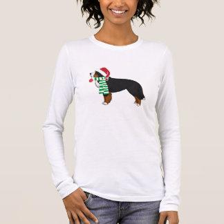 T-shirt À Manches Longues Chien de vacances de montagne de Bernese de Noël