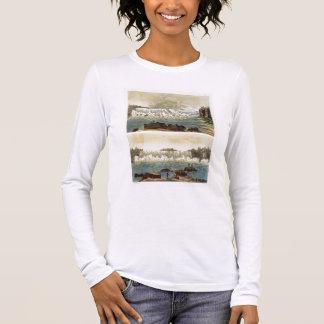 T-shirt À Manches Longues Chutes du Niagara, 1818 (gravure de couleur)