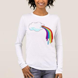 T-shirt À Manches Longues Douille des femmes vomissantes d'arc-en-ciel de