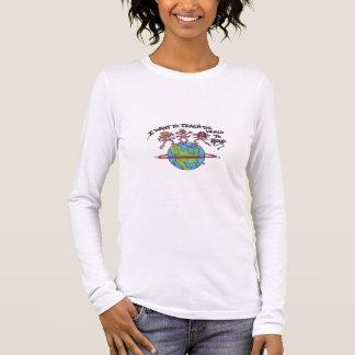 T-shirt À Manches Longues Enseignez le monde au cercle