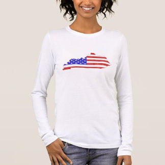 T-shirt À Manches Longues Femmes de carte d'état de silhouette du Kentucky