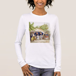 T-shirt À Manches Longues Filles de danse polynésiennes, gravées par A.