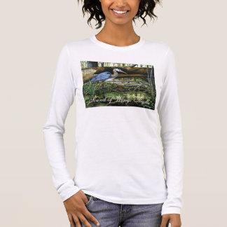 T-shirt À Manches Longues Héron de grand bleu, bruit de studio d'ailes
