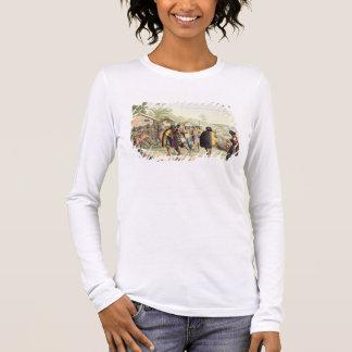 T-shirt À Manches Longues Indigènes polynésiens saluant et frottant des nez,