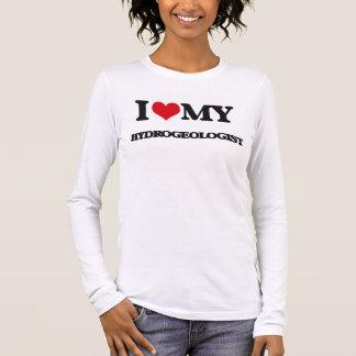 T-shirt À Manches Longues J'aime mon spécialiste en hydrogéologie