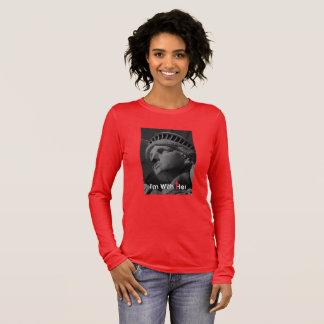 T-shirt À Manches Longues Je suis avec sa statue de pièce en t de longsleeve