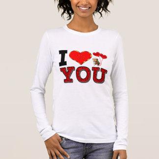 T-shirt À Manches Longues Je t'aime avec le chiot et étreint et embrasse des