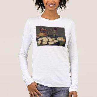 T-shirt À Manches Longues La vie toujours avec les huîtres et les verres