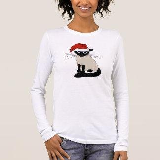 T-shirt À Manches Longues Le père noël siamois - chat drôle de Noël