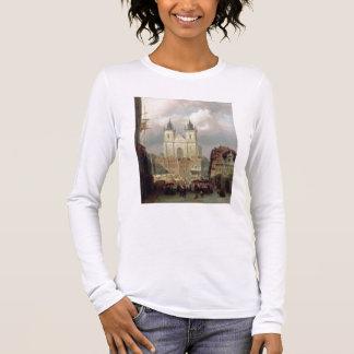 T-shirt À Manches Longues Le vieux marché à Prague, 1881 (huile sur le canva